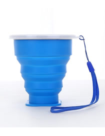Fashion Blue Portable Folding Multifunctional Telescopic Cup Silicone Cup With Lid