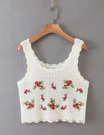 Fashion White Short Camisole With Embroidered Square Collar