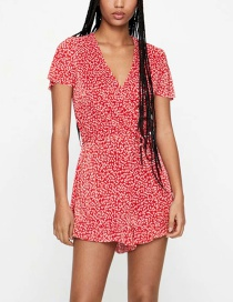 Fashion Red V-neck Floral Print Pleated Tethered Jumpsuit
