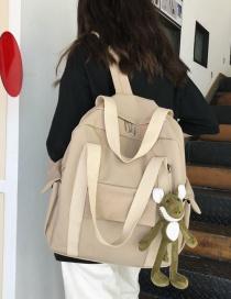 Fashion Beige Multi-pocket Stitching Canvas Backpack