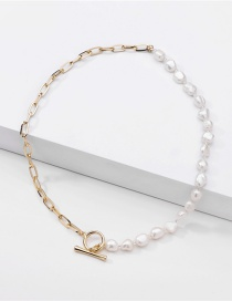 Fashion Golden Chain Stitching Pearl Ot Buckle Alloy Necklace