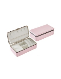 Fashion Mirrorless Pink Pu Jewelry Portable Earrings Ring Jewelry Box