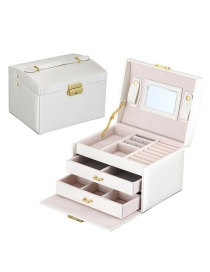 Fashion Rain Silk White Pu Leather Drawer Jewelry Box