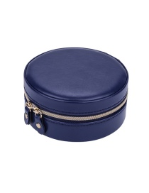 Fashion Dark Blue Round Portable Pu Leather Zipper Earrings Necklace Ring Storage Box
