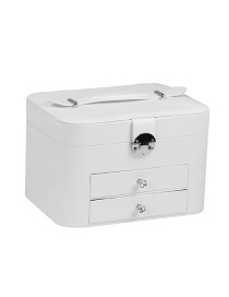 Fashion White Multi-layer Plush Pu Leather Drawer With Mirror Jewelry Box