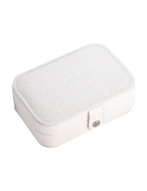 Fashion Pearl White Leather Portable Double-layer Jewelry Box