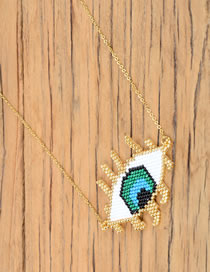 Fashion Golden Rice Bead Braided Eyes Vacuum-plated Color-preserving Rice Bead Chain Necklace