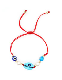 Fashion Blue Natural Freshwater Pearl Shell Hand-woven Bracelet