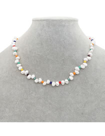 Fashion White Natural Freshwater Pearl Crystal Necklace