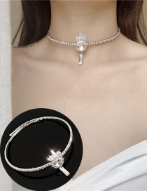 Fashion Silver Diamond Crown Alloy Necklace