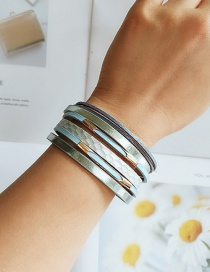 Fashion Blue Pu Leather Alloy Magnet Buckle Multi-layer Bracelet