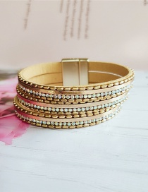 Fashion Yellow Pu Leather Metal Diamond Multi-layer Bracelet