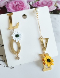 Fashion Yellow Asymmetric Tassel Flower Alphabet Alloy Earrings