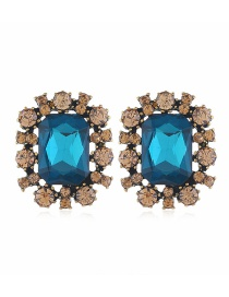 Fashion Blue Hollow Geometric Earrings With Gem-set Alloy