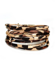Fashion Yellow Pu Leather Alloy Magnet Buckle Multi-layer Bracelet