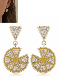 Fashion Yellow Diamond Dropped Diamond Geometric Earrings