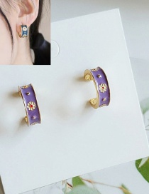 Fashion Purple Flower Dripping Geometric C-shaped Alloy Earrings