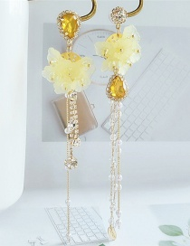 Fashion Yellow Alloy Tassel Resin Diamond Asymmetric Earrings