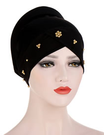 Fashion Black Beaded Flower Sponge Splicing Cross Turban Hat
