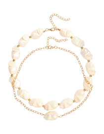 Fashion Golden Alloy Cross Chain Shaped Pearl Necklace