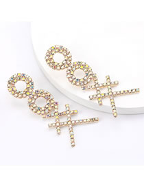 Fashion Golden Round Cross Alloy Multi-layer Earrings