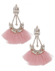 Fashion White+pink Alloy Diamond Drop Tassel Earrings