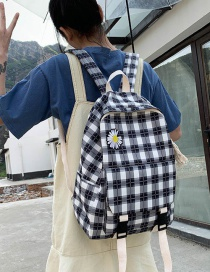 Fashion Black Daisy Flower Checked Canvas Backpack