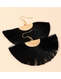 Fashion Black Fringed Geometric Fan-shaped Alloy Earrings