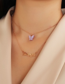Fashion Purple Alphabet Alloy Resin Butterfly Multi-layer Necklace