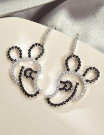 Fashion Silver Micro-set Zircon Mickey Mouse Hollow Earrings