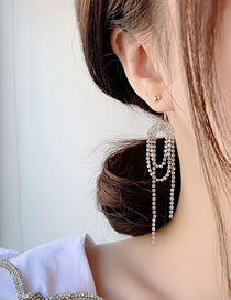 Fashion Golden Fringed Rhinestone Curved Alloy Hollow Earrings