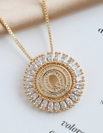 Fashion Q Round Alphabet Necklace With Copper And Zircons