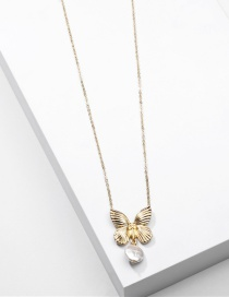 Fashion Golden Natural Freshwater Pearl Metal Butterfly Alloy Necklace