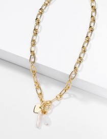 Fashion Golden Natural Freshwater Pearl Natural Stone Handmade Chain Alloy Necklace