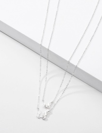 Fashion Silver Butterfly Double Chain Necklace With Alloy Diamond