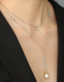 Fashion Golden Alloy Crystal Hand-wound Pearl Multi-layer Necklace