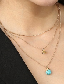 Fashion Golden Turquoise Rose Multilayer Necklace