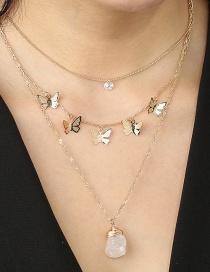 Fashion Golden Butterfly Tassel Diamond Multi-layer Necklace