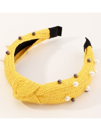 Fashion Knotted Yellow Knotted Rattan Pearl And Diamond Wide Headband