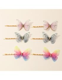 Fashion Color Mixing Butterfly Diamond Mesh Yarn Hairpin