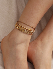 Fashion Golden Hollow Chain Alloy Multi-layer Anklet