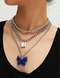 Fashion White K Lock-shaped Large Butterfly Resin Multi-layer Necklace