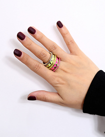Fashion Golden Handmade Beads Contrast Color Geometric Triangle Ring Set
