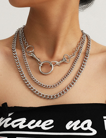 Fashion White K Chain Keychain Ring Alloy Multilayer Necklace