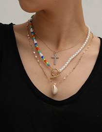 Fashion Golden Shell Asymmetric Handmade Beaded Cross Multilayer Necklace