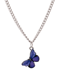 Fashion Purple Butterfly Drop Alloy Necklace