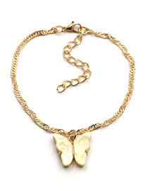 Fashion Yellow Bracelet Butterfly Resin Alloy Necklace Bracelet Earrings