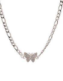 Fashion Silver Butterfly Stainless Steel Titanium Diamond Necklace