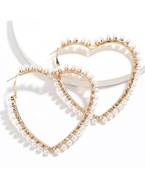 Fashion Golden Love Alloy Pierced Earrings With Pearls