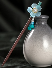 Fashion Blue Glass Flower Fringed Pearl Hairpin